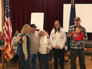 Hazel N. Fletcher was presented with the Gilmanton Boston Post Cane with Family and Friends present on December 5th 2017